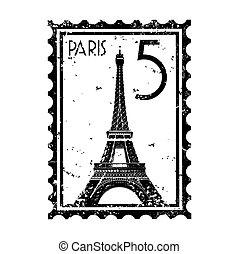 パリ, 隔離された, イラスト, 単一, ベクトル, アイコン