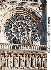 パリ, notre, de, パリ, フランス, ファサド, 窓, (1160-1345), 西, 大聖堂, ラウンド, 貴婦人