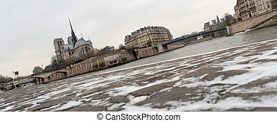 パリ, notre, de, 雪, ドック, 貴婦人