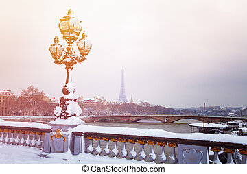パリ, pont, エッフェル, 雪, iii, タワー, alexandre
