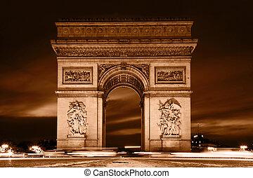 パリ, triomphe, 弧, france., de