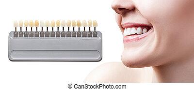 パレット, コラージュ, 白くなる, 女性, 歯, teeth.