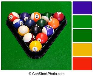 パレット, ボール, 色のswatches, ビリヤード, 緑のテーブル, プール