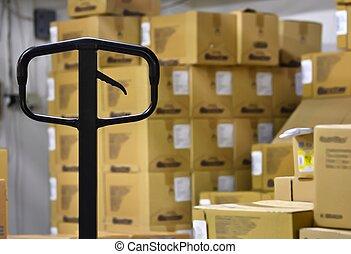 パレット, 中, warehouse., トラック, 手