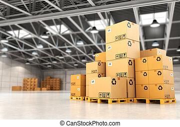 パレット, 出産, concept., 箱, warehouse.
