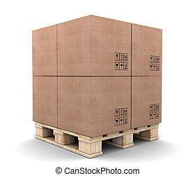 パレット, 箱, ボール紙