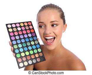 パレット, 色, eyeshadow, 化粧品, 女の子, 興奮させられた