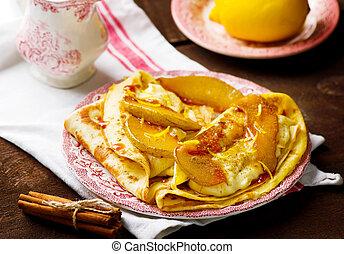 パンケーキ, ∥で∥, プディング, そして, カラメル, 西洋ナシ