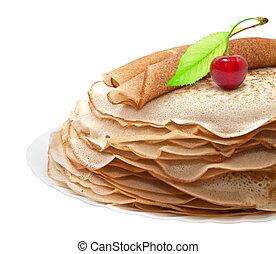 パンケーキ, 白, サクランボ, 背景