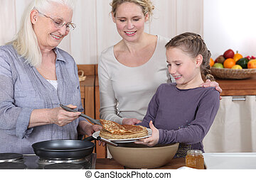 パンケーキ, 食べること, 家族