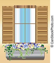 パンジー, 箱, 窓