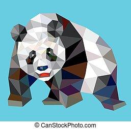 パンダ, 低い, 三角形, style., 多角形
