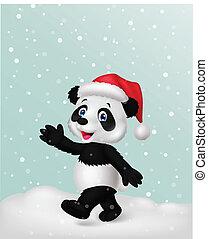 パンダ, 身に着けていること, 帽子, 漫画, 赤, wavin