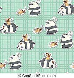 パンダ, 遊び, pattern., 犬, seamless