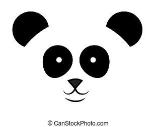 パンダ 顔 イラスト ベクトル 簡単にされている 熊 白 黒 パンダ