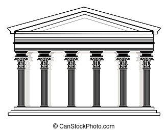 パンテオン, ベクトル, roman/greek, 寺院