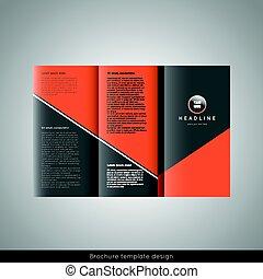 パンフレット, デザイン, trifold, ビジネス, テンプレート
