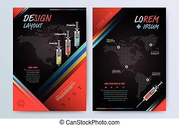 パンフレット, フライヤ, デザイン, layout.