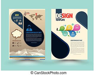 パンフレット, ベクトル, テンプレート, design.