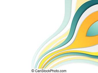 パンフレット, 企業である, 明るい, 波状, デザイン