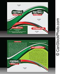 パンフレット, 折り目, フットボール, bi, テンプレート