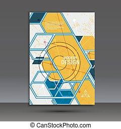 パンフレット, 抽象的なデザイン, 幾何学的, テンプレート