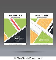 パンフレット, 抽象的, デザインをまっすぐにしなさい, テンプレート