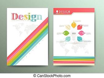 パンフレット, 抽象的, ベクトル, デザイン
