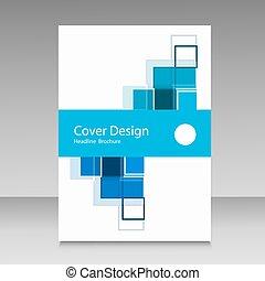 パンフレット, 抽象的, 正方形, デザイン, テンプレート