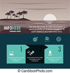 パンフレット, 旅行, infographic, 浜