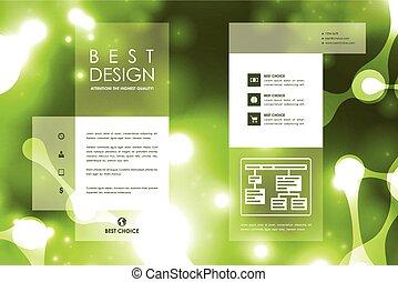 パンフレット, 構造, テンプレート, デザイン, スタイル, セット, 分子, ポスター, ネオン
