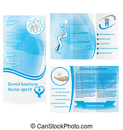パンフレット, 歯医者の, デザイン, イラスト