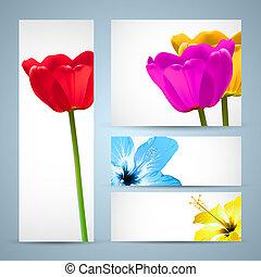 パンフレット, 花, テンプレート, 自然