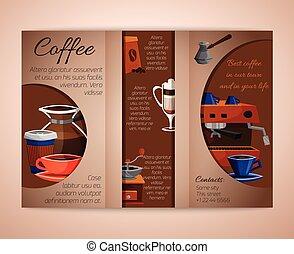 パンフレット, tri-fold, コーヒー