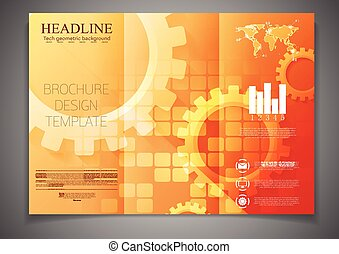 パンフレット, tri-fold, 技術, デザイン, テンプレート