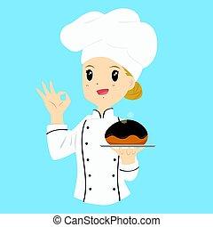 パン屋, チョコレート, 届く, ロールパン, 女性, bread