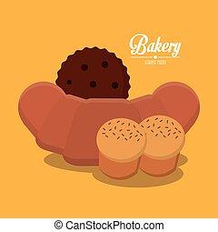パン屋, デザイン, coockie, bread