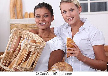 パン屋, 女性, 2, 仕事, 若い