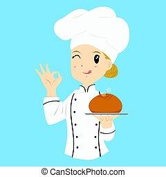 パン屋, 届く, ロールパン, 女性, bread