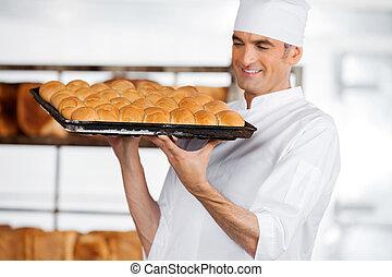 パン屋, 届く, 新たに, パン, トレーで