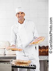 パン屋, 積み重ね, パックされた, ピザ, パン, 中に, パン屋