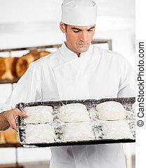 パン屋, ∥見る∥, 生地, 中に, ベーキング 皿