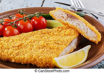 パン粉つきである, 野菜, 魚フィレ