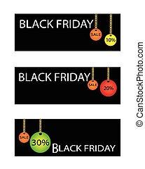 パーセント, 金曜日, セール, 割引, 黒, 旗