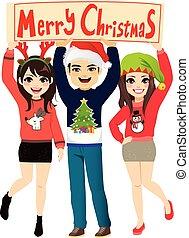 パーティーバナー, クリスマス, 陽気, 人々
