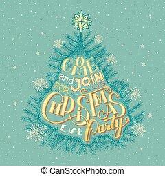 パーティー, イブ, クリスマス, 招待