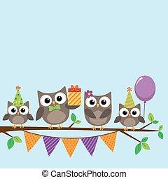 パーティー, カード, フクロウ