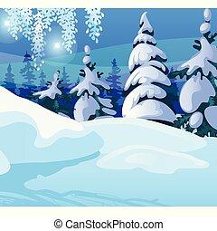 パーティー, クリスマス, サンプル, cartoon., 年, ベクトル, カード, 木, 新しい, ポスター, トウヒ, 背景, forest., お祝い, スケッチ, 挨拶, invitations., クローズアップ, 冬, ∥あるいは∥, イラスト, 雪が多い