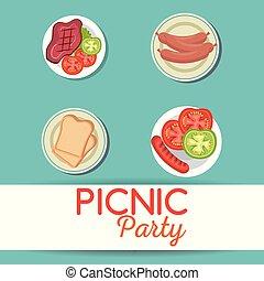 パーティー, セット, ピクニック, 招待, アイコン