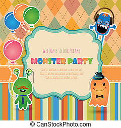 パーティー, デザイン, モンスター, カード, 招待